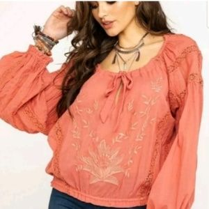 Free People Maria Maria Lace Blouse Peasant Top